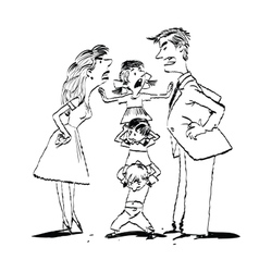 Sketch of a Family Arguing vector image