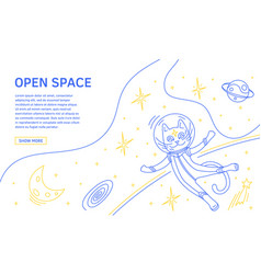 space landing page concept flat line vector image