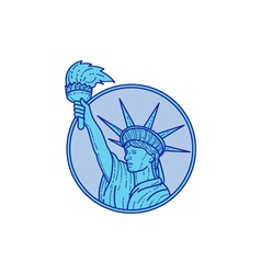 Statue of Liberty Flaming Torch Circle Mono Line vector