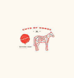 Stock horse cuts diagram in thin line style vector