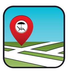 Street map icon with the pointer beach vacation vector image