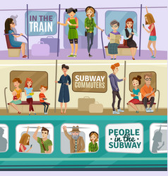 subway people banners set vector image