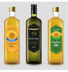 Sunflowers and olive oils bottles set transparent vector