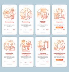 Supply and demand onboarding mobile app page vector