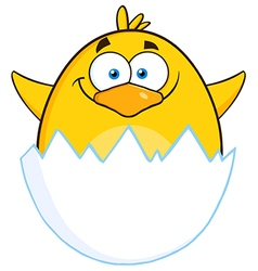 Surprise Yellow Chick Cartoon Character vector