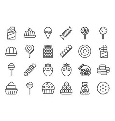sweets and candy icon set 12 line icon set vector image