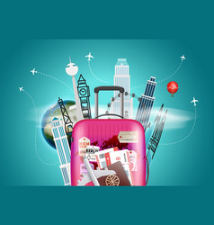 travel destination concept with the bag vector image