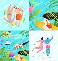 tropical vacation swimming in paradise flyers set vector image