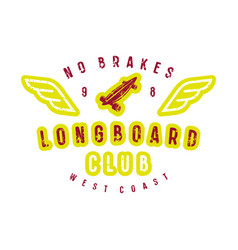 typographic emblem of longboard shop vector image
