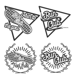 Vintage run club emblems vector image