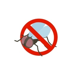 Warning sign with fly icon isometric 3d style vector image