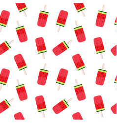 watermelon ice cream seamless pattern background vector image