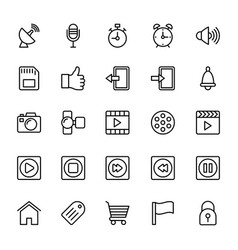Web and mobile ui line icons 9 vector