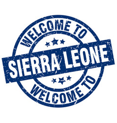 Welcome to sierra leone blue stamp vector