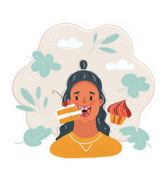 woman with a cake female vector image
