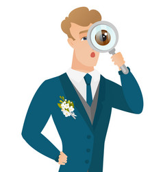 Young caucasian groom with magnifying glass vector