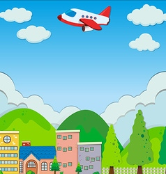 Airplane flying over buildings in suburb vector image