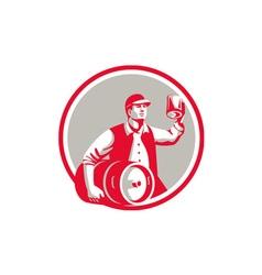 American worker keg toast beer mug circle retro vector