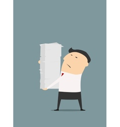 Cartooned businessman with stack of papers vector image vector image