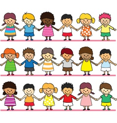 cute children holding hand vector image vector image
