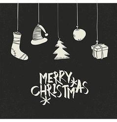 Merry Christmas Greeting On black Postcard retro vector image