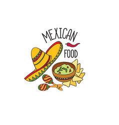 mexican food symbol set fastfood sign guacamole vector image vector image