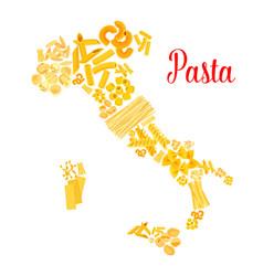 pasta or italian macaroni italy map vector image vector image