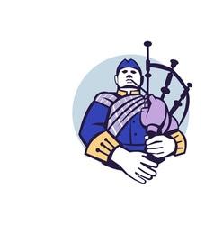 Scotsman Bagpiper Player Circle Retro vector image