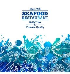 Seafood background menu vector