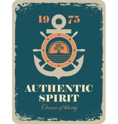banner with an anchor and a ship steering wheel vector image