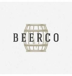 Beer barrel logo or badge design element vector image vector image