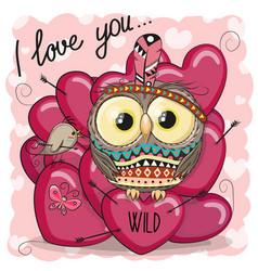 cute cartoon tribal owl with hearts vector image vector image