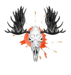 Moose Skull and Splatter vector image vector image