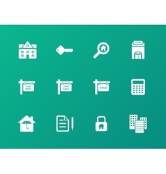 Real Estate icons on green background vector image