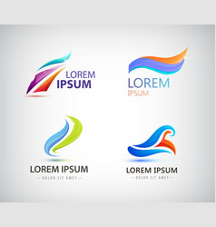 set of abstract wavy vibrant logos vector image vector image