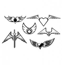 set of wing symbols vector image