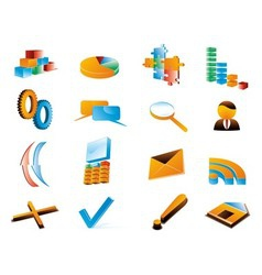 Three dimensional icons vector image vector image