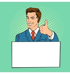Advertising man with banner place for text vector image