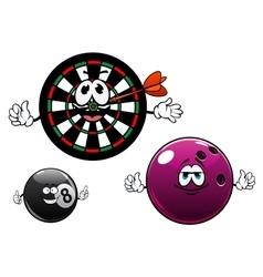 Cartoon bowling billiard and dartboard characters vector image vector image