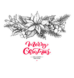 christmas garland and lettering hand drawn vector image vector image