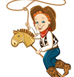 cowboy child with lasso and toy horse vector image vector image
