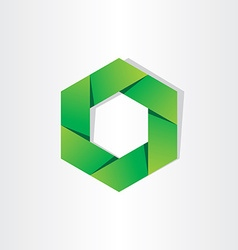 green hexagon eco symbol abstract background vector image