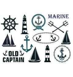 Marine heraldic elements set vector image vector image