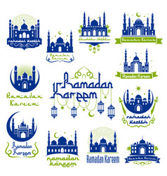 Ramadan kareem greetings isolated icon set vector
