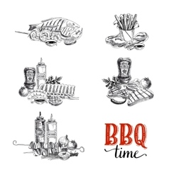 set of barbecue and grill elements vector image vector image