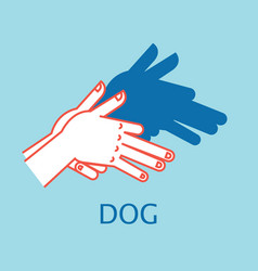 shadow theater hands gesture like dog vector image vector image
