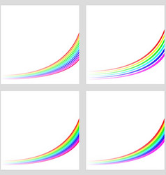 Simple rainbow curved line background set vector image vector image