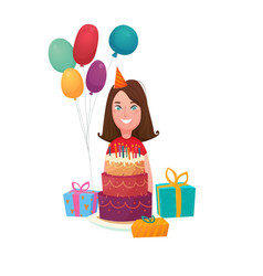 birthday girl cake composition vector image vector image
