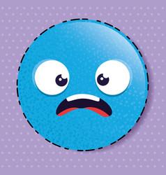 blue scared emoji emoticon character vector image