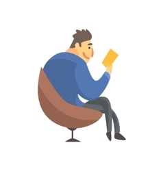 Businessman Top Manager In A Suit Reading In vector image